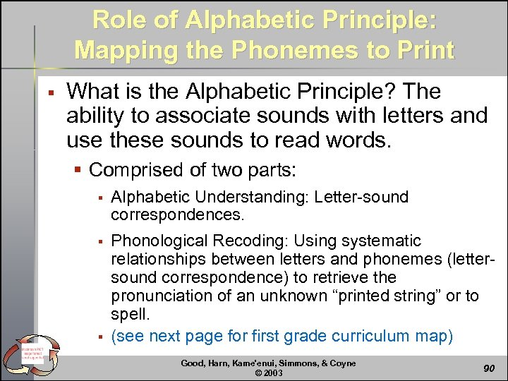 Role of Alphabetic Principle: Mapping the Phonemes to Print § What is the Alphabetic