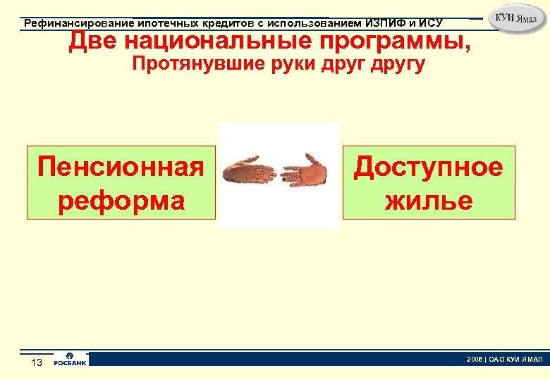Рефинансирование ипотечных кредитов с использованием ИЗПИФ и ИСУ Две национальные программы, Протянувшие руки другу