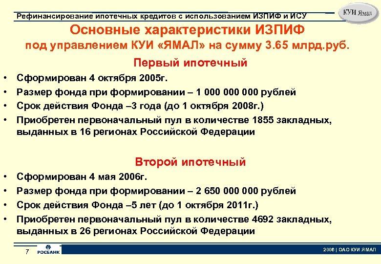 Рефинансирование ипотечных кредитов с использованием ИЗПИФ и ИСУ Основные характеристики ИЗПИФ под управлением КУИ