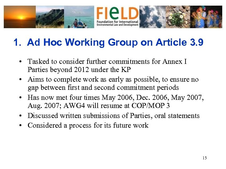 1. Ad Hoc Working Group on Article 3. 9 • Tasked to consider further