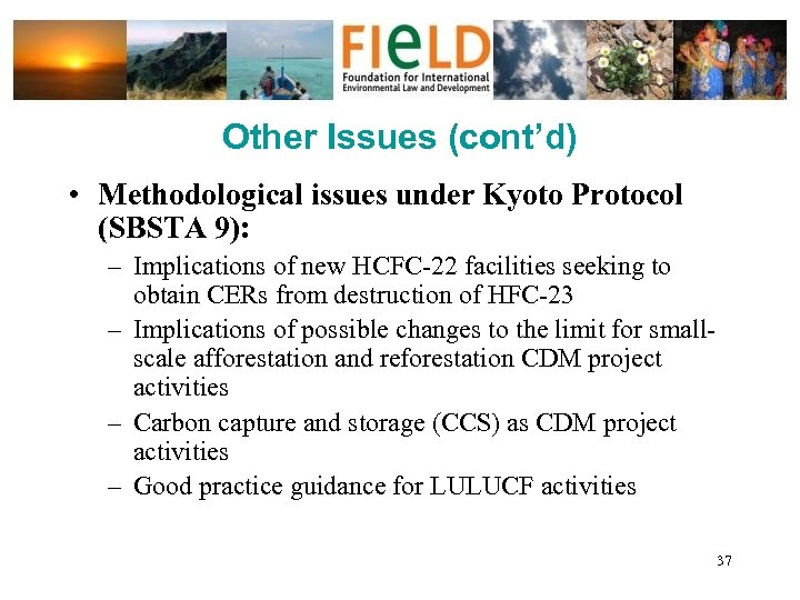 Other Issues (cont'd) • Methodological issues under Kyoto Protocol (SBSTA 9): – Implications of