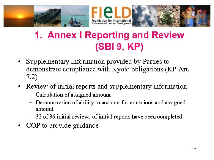 1. Annex I Reporting and Review (SBI 9, KP) • Supplementary information provided by