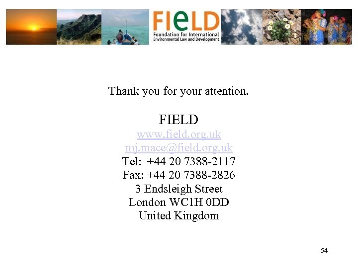 Thank you for your attention. FIELD www. field. org. uk mj. mace@field. org. uk