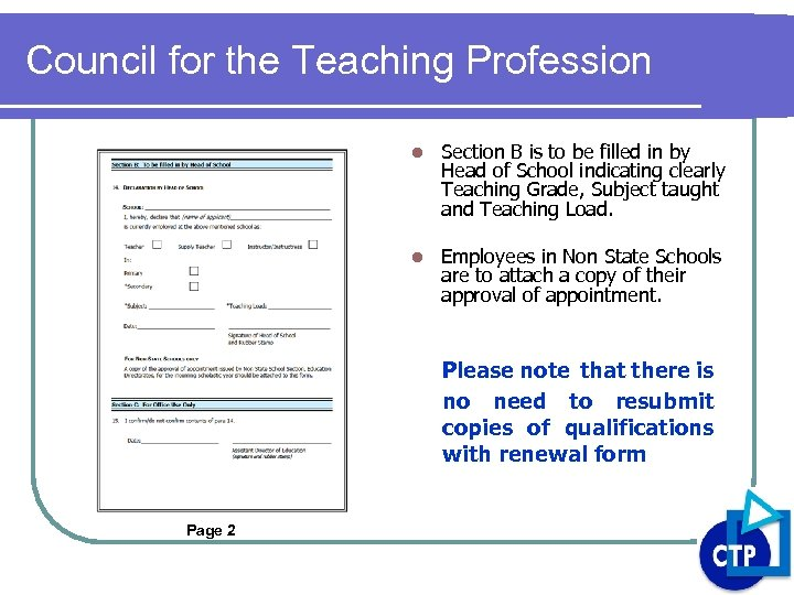 Council for the Teaching Profession l Section B is to be filled in by