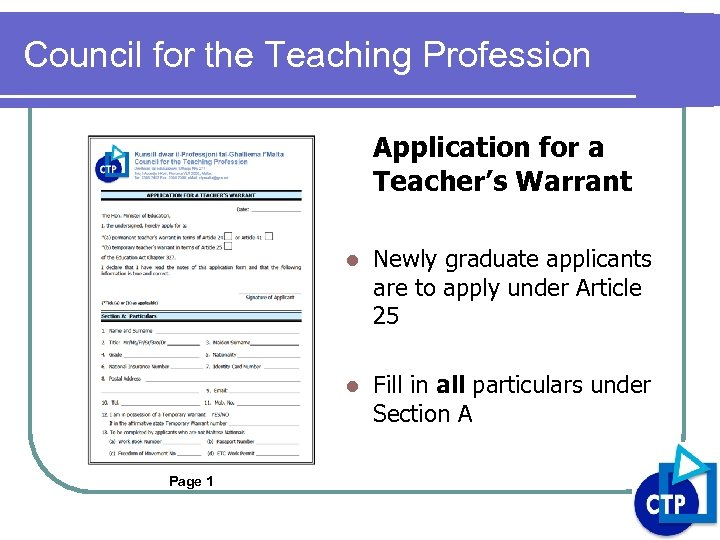 Council for the Teaching Profession Application for a Teacher's Warrant l l Page 1