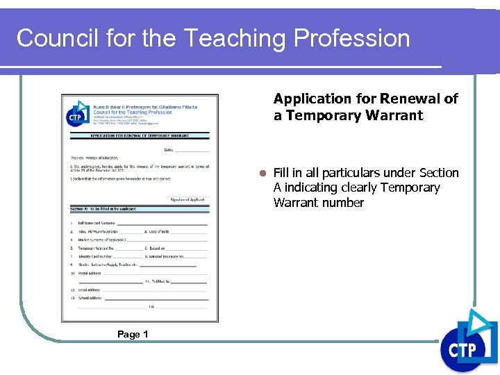 Council for the Teaching Profession Application for Renewal of a Temporary Warrant l Page