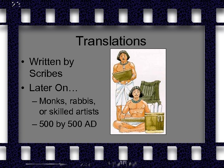 Translations • Written by Scribes • Later On… – Monks, rabbis, or skilled artists