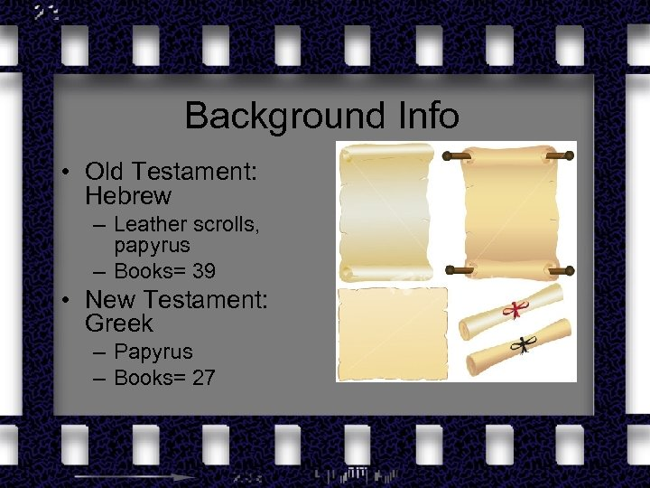 Background Info • Old Testament: Hebrew – Leather scrolls, papyrus – Books= 39 •