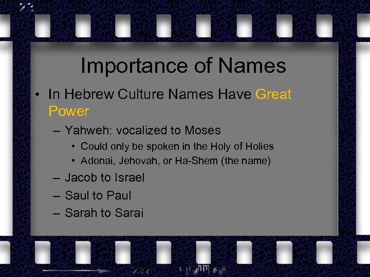 Importance of Names • In Hebrew Culture Names Have Great Power – Yahweh: vocalized