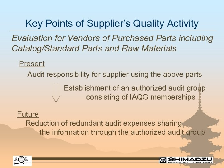 Key Points of Supplier's Quality Activity Evaluation for Vendors of Purchased Parts including Catalog/Standard