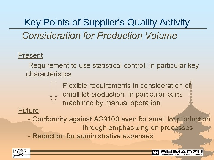 Key Points of Supplier's Quality Activity Consideration for Production Volume Present Requirement to use