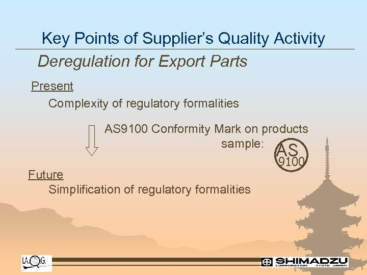 Key Points of Supplier's Quality Activity Deregulation for Export Parts Present Complexity of regulatory