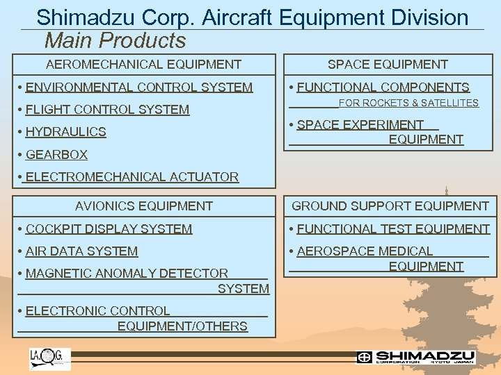Shimadzu Corp. Aircraft Equipment Division Main Products AEROMECHANICAL EQUIPMENT • ENVIRONMENTAL CONTROL SYSTEM •