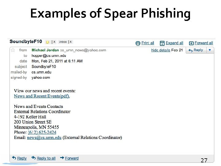 Examples of Spear Phishing 27