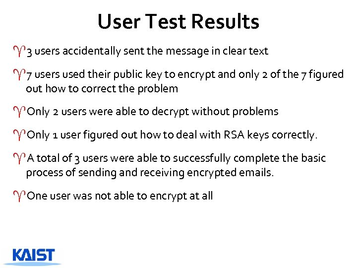 User Test Results ^3 users accidentally sent the message in clear text ^7 users