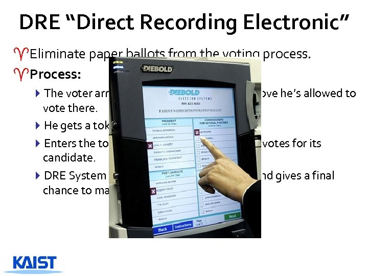 """DRE """"Direct Recording Electronic"""" ^Eliminate paper ballots from the voting process. ^Process: 4 The"""