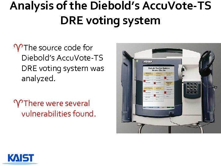 Analysis of the Diebold's Accu. Vote-TS DRE voting system ^The source code for Diebold's