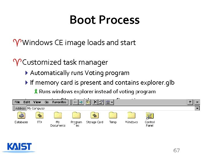 Boot Process ^Windows CE image loads and start ^Customized task manager 4 Automatically runs