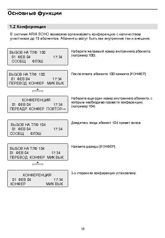 Основные функции 1. 2 Конференция В системе ARIA SOHO возможно организовать конференцию с количеством