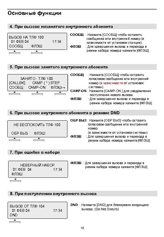 Основные функции 4. При вызове незанятого внутреннего абонента ВЫЗОВ НА ТЛФ 100 01 ФЕВ