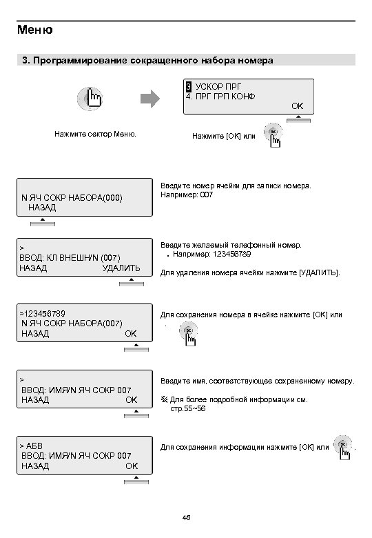 Меню 3. Программирование сокращенного набора номера 3. УСКОР ПРГ 1 4. ПРГ ГРП КОНФ