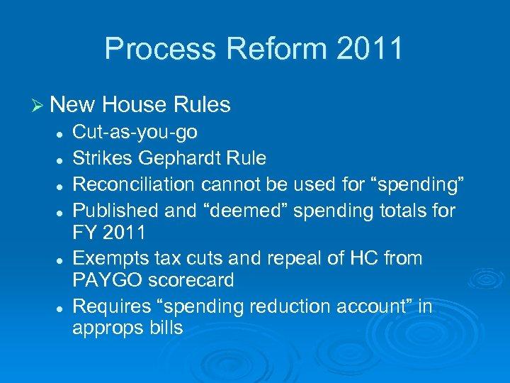 Process Reform 2011 Ø New House Rules l l l Cut-as-you-go Strikes Gephardt Rule