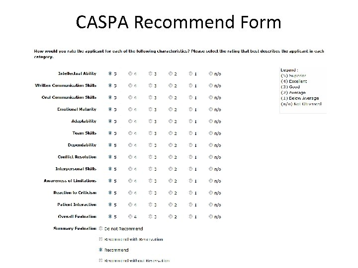 CASPA Recommend Form