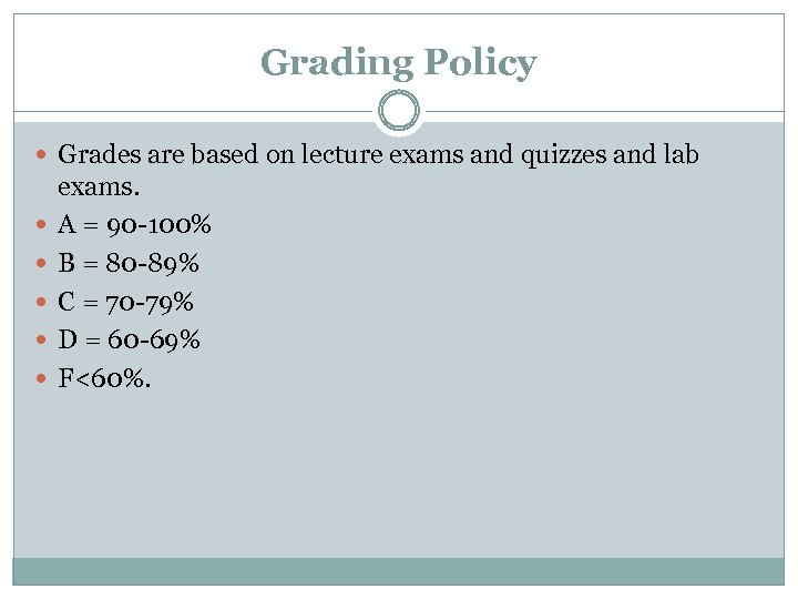 Grading Policy Grades are based on lecture exams and quizzes and lab exams. A