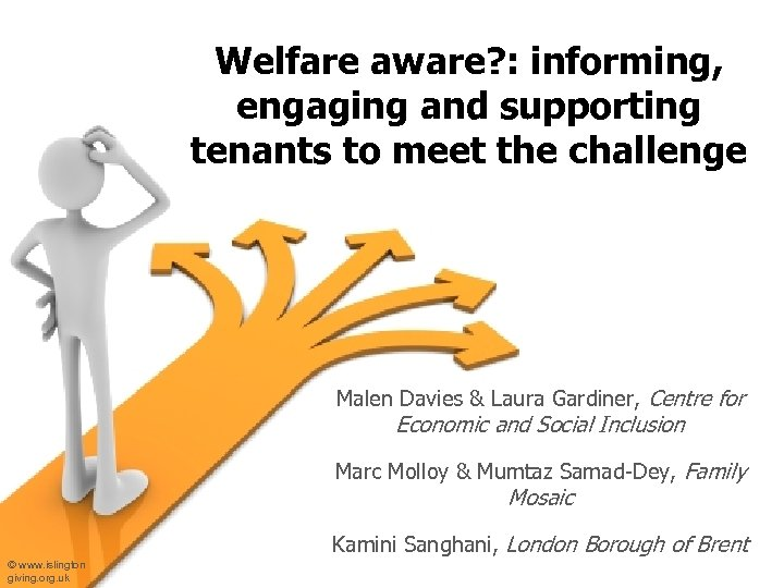 Welfare aware? : informing, engaging and supporting tenants to meet the challenge Malen Davies