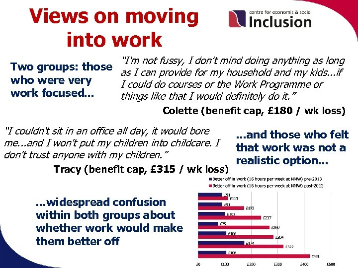 """Views on moving into work """"I'm not fussy, I don't mind doing anything as"""
