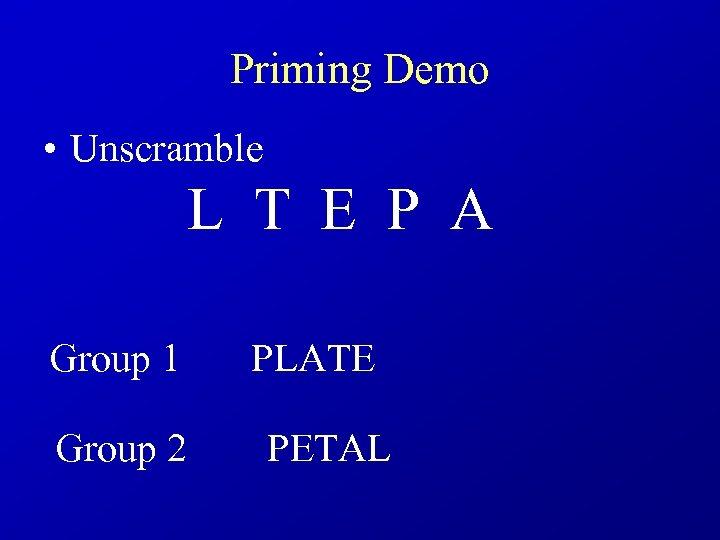 Priming Demo • Unscramble L T E P A Group 1 PLATE Group 2