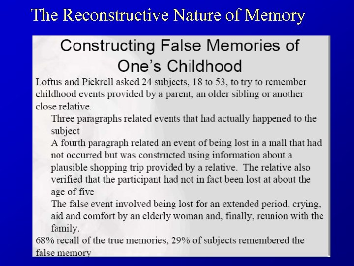 The Reconstructive Nature of Memory • Loftus