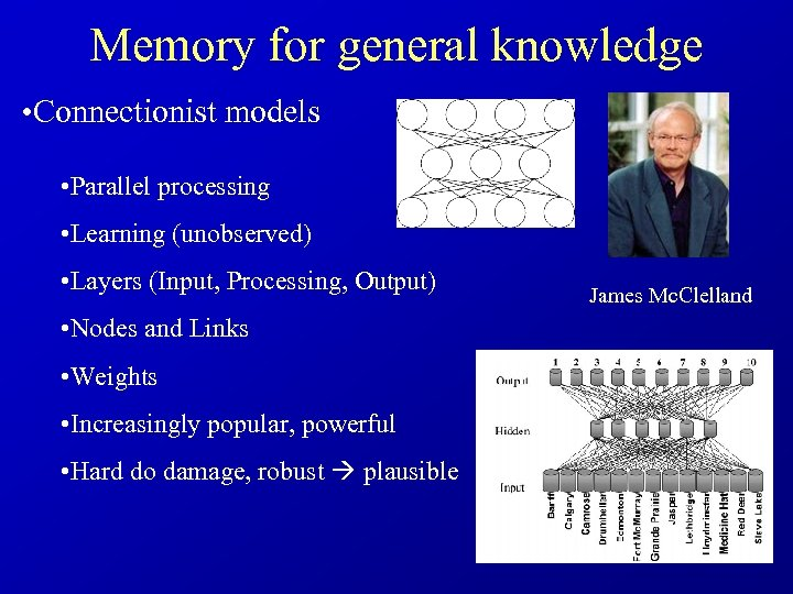 Memory for general knowledge • Connectionist models • Parallel processing • Learning (unobserved) •