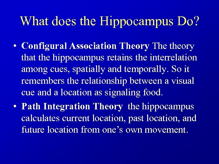 What does the Hippocampus Do? • Configural Association Theory The theory that the hippocampus