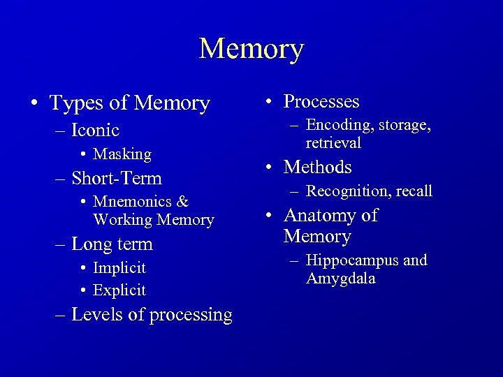 Memory • Types of Memory – Iconic • Masking – Short-Term • Mnemonics &