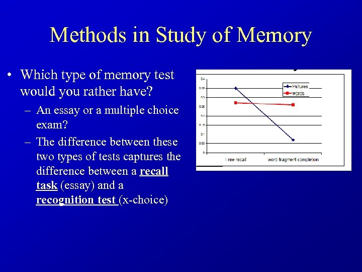 Methods in Study of Memory • Which type of memory test would you rather