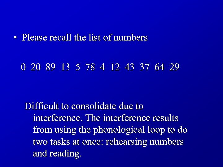 • Please recall the list of numbers 0 20 89 13 5 78