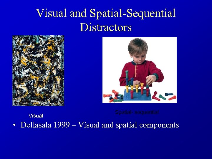 Visual and Spatial-Sequential Distractors Visual Spatial- sequential • Dellasala 1999 – Visual and spatial