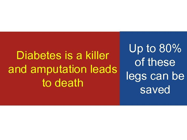 Up to 80% Diabetes is a killer of these and amputation leads legs can