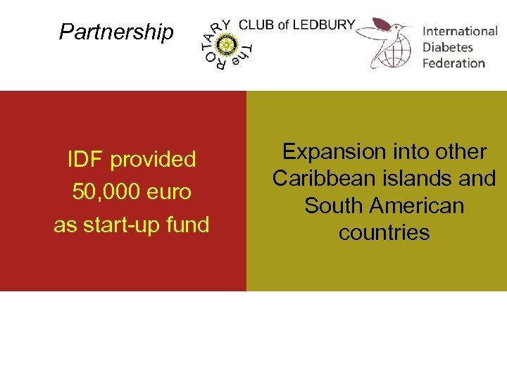 Partnership IDF provided 50, 000 euro as start-up fund Expansion into other Caribbean islands