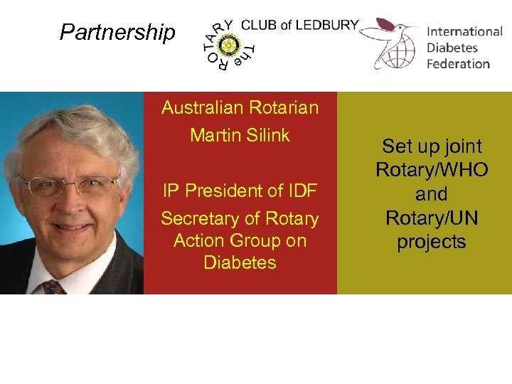 Partnership Australian Rotarian Martin Silink IP President of IDF Secretary of Rotary Action Group