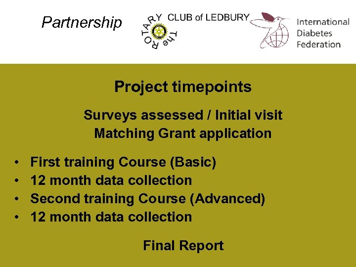 Partnership Project timepoints Surveys assessed / Initial visit Matching Grant application • • First