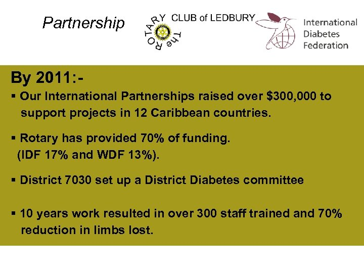 Partnership By 2011: § Our International Partnerships raised over $300, 000 to support projects