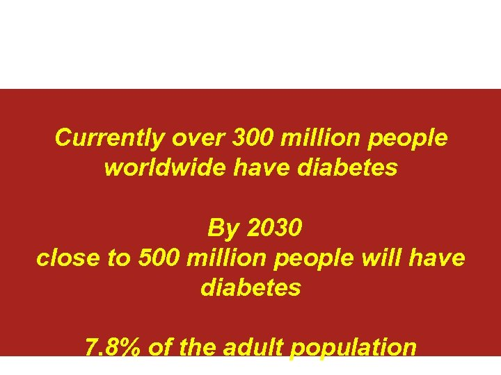 Currently over 300 million people worldwide have diabetes By 2030 close to 500 million