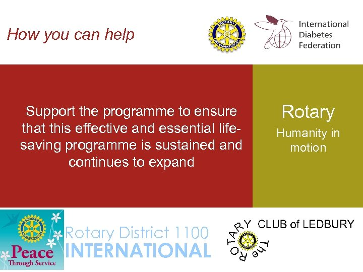 How you can help Support the programme to ensure that this effective and essential