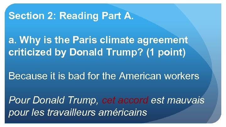Section 2: Reading Part A. a. Why is the Paris climate agreement criticized by