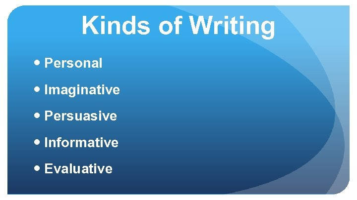 Kinds of Writing Personal Imaginative Persuasive Informative Evaluative