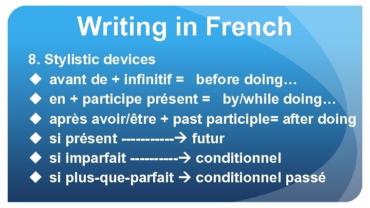 Writing in French 8. Stylistic devices u avant de + infinitif = before doing…