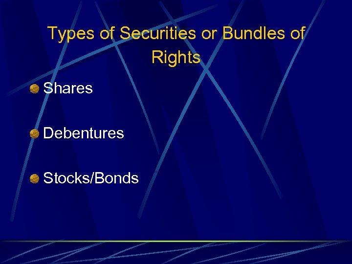 Types of Securities or Bundles of Rights Shares Debentures Stocks/Bonds