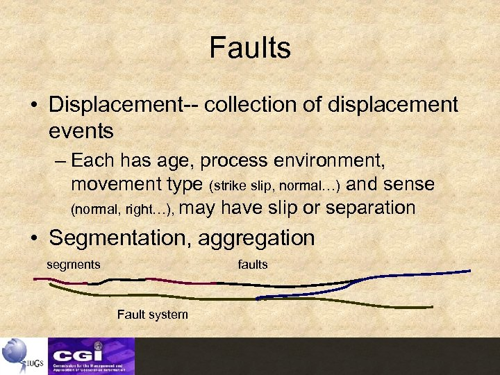 Faults • Displacement-- collection of displacement events – Each has age, process environment, movement